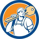 Serrurier Carry Key Circle Retro illustration de vecteur