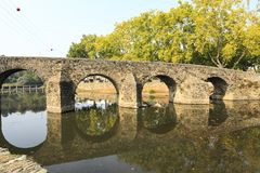 Sertã Seventeenth Century Carvalha Bridge. Built in the seventeenth century during the Spanish occupation, the Carvalha Bridge is a 6 round arches and 64 royalty free stock photos