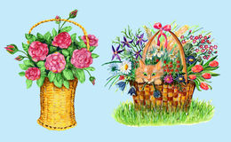 Sert with baskets of flowers Royalty Free Stock Image