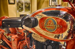 SERTUM VINTAGE motorcycle AND LOGO IN MUSEUM. PESARO -ITALY - NOV. 2016: Harley-Davidson VINTAGE motorcycle AND LOGO IN MUSEUM Stock Image
