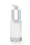Serum bottle. White Glass serum botlte with pump Royalty Free Stock Photo