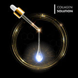 Serum premium golden drop. Collagen with dropper Royalty Free Stock Photos