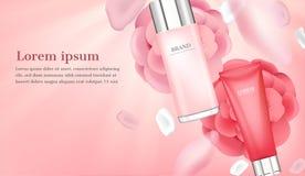 Serum und Feuchtigkeitscreme mit den rosa Blumenblättern vektor abbildung