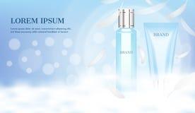 Serum und Schaum mit Wolke und kleine Federn auf hellblauem Hintergrund lizenzfreie abbildung