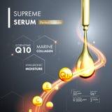 Serumwesentliches des Coenzyms Q10 lässt Formel fallen Stockfoto