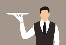 Servant holding a tray, the plate is empty. Vector illustration Stock Photo
