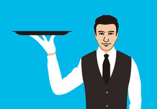 Servant holding a tray, the plate is empty. Vector illustration Royalty Free Stock Image