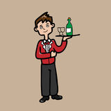 Servant serve liauor. Young servant in red uniform cartoon Royalty Free Stock Images