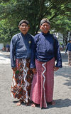 Servants of Yogyakarta Royal Palace Kraton posing in traditional attire Stock Images