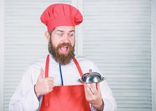 Serve food. Cuisine culinary. man holds kitchen dish tray in restaurant. Healthy food cooking. Mature hipster with beard stock photography