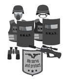 Serve and protect  illustration. SWAT and police. Flat style. Stock Photo