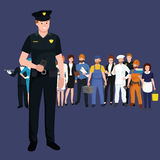 Serve and protect. Police man, officer male, vector illustration Stock Image