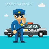 Serve and protect. Police officer stands in front. Of police car. Security male, car and officer, cop man, vector illustration Royalty Free Stock Images