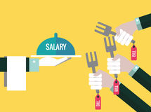 Serve salary to bill forks. Flat design elements. vector illustration Royalty Free Stock Photos