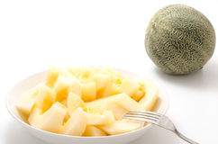 Serve yellow melon Stock Photos