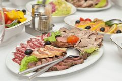 Served appetizer of meat Stock Image
