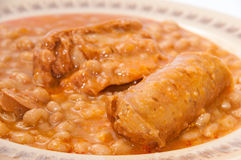 Served baked beans with sausage Stock Image
