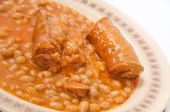 Served baked beans with sausage Royalty Free Stock Photography