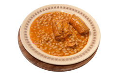 Served baked beans with sausage Stock Photo