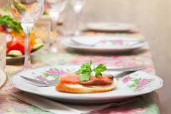 Served for a banquet table. Royalty Free Stock Photo