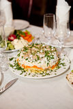 Served for a banquet table with glasses and white napkins and salads, vegetables Royalty Free Stock Image