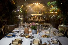 Served for banquet tables in a luxurious interior. royalty free stock images