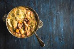 Served beef and bean soup. Healthy beef and bean soup served,selective focus and blank space Royalty Free Stock Photos