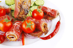 Served beef rolls with chunk on Stock Images