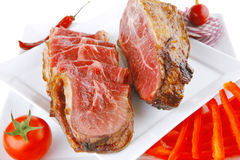 Served beef rolls with chunk on Royalty Free Stock Image
