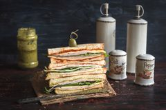 Served big toast sandwich. Served big sliced sandwich on the table,selective focus Royalty Free Stock Photography