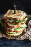 Served big toast sandwich. Big toast sandwich with ham,selective focus Royalty Free Stock Image