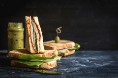 Served big toast sandwich. Toast sandwich with ham sliced on wooden background with blank space,selective focus Royalty Free Stock Image