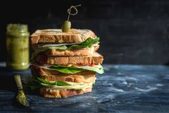 Served big toast sandwich. Toast sandwich with pesto and ham on wooden background with blank space,selective focus Stock Photos