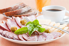 Served breakfast. On white plates Royalty Free Stock Photo