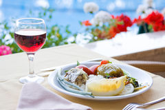 Served breakfast. Excellent breakfast by the pool Royalty Free Stock Photo