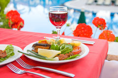 Served breakfast. Breakfast served on the table Royalty Free Stock Photos