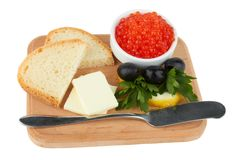 Served caviar, with butter and toasts Royalty Free Stock Photos