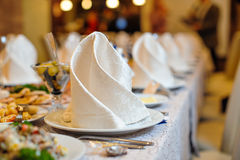 Served celebratory wedding table in the restaurant Royalty Free Stock Photos