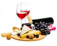 Served cheese and wine Royalty Free Stock Photos