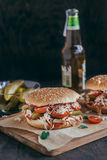 Served chicken burger Royalty Free Stock Photography