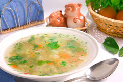 Served chicken rice soup. Decorated ingredients stock photo