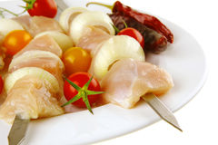 Served chicken shish kebab Royalty Free Stock Images