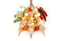 Served chicken shish kebab Royalty Free Stock Photo