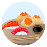 Served Chinese food dim sum with shrimp and salmon. Served Chinese food dim sum with rice covered by shrimp and salmon, fried steamed dumplings with red caviar Stock Photo