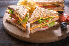 Served club sandwiches Royalty Free Stock Image