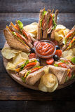 Served club sandwiches Stock Photography