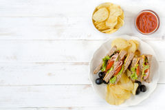Served club sandwiches Stock Photo