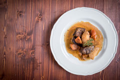Served cooked beef meat and potatoes Stock Image