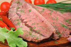 Served corn beef on plate Stock Images