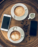 Served cups of cappuccino Royalty Free Stock Photos